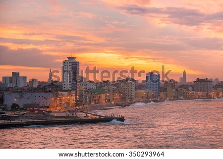 Sunset in Havana with a view of the seaside city skyline - stock photo