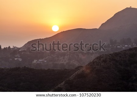sunset in hollywood mountains - stock photo