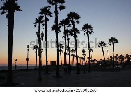 Sunset in Huntington Beach - California - stock photo