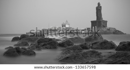 Sunset in Kanyakumari, India - stock photo