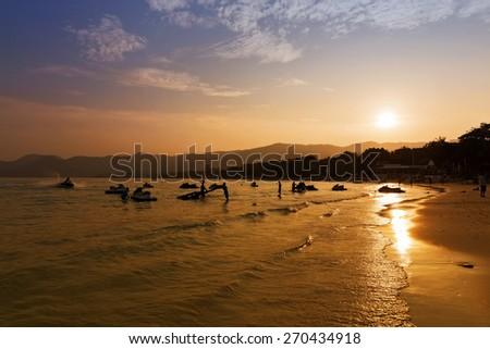 Sunset in Ko Samui, Thailand - stock photo