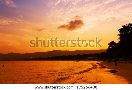 Sunset in Koh Samui, Thailand - stock photo