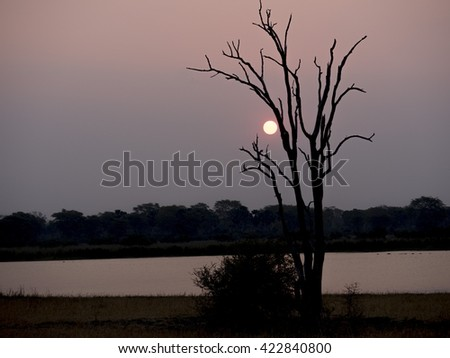 sunset in Lake Malawi  - stock photo