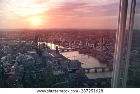 Sunset in London, Westminster side of the city and River Thames - stock photo