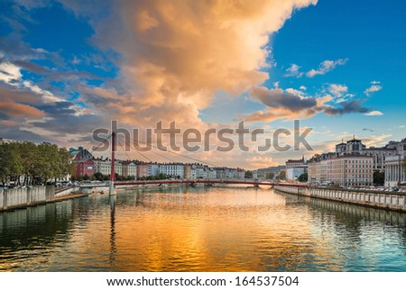 Sunset in Lyon city in France - stock photo