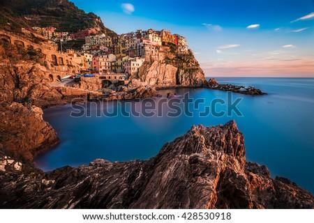 Sunset in Manarola village, Italy - stock photo