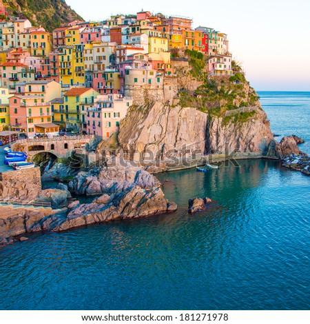 Sunset in Manarona, Cinque Terre, Italy - stock photo