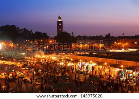 Sunset in Marrakesh, Morocco - stock photo