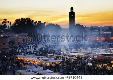 Sunset in Marrakesh, The Djemma el fna square, Morocco - stock photo