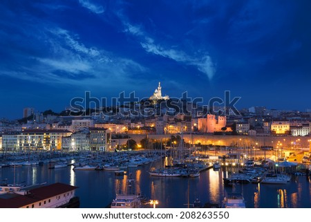 Sunset in Marseilles, France - stock photo