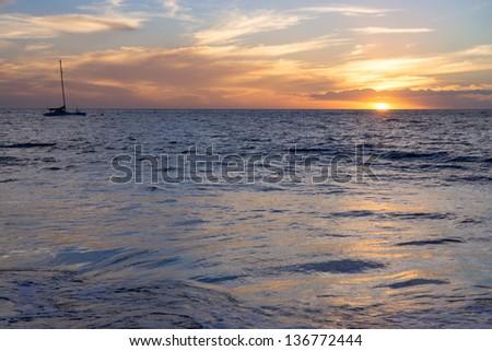 Sunset in Maui, Hawaii, USA - stock photo