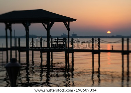 Sunset in Melbourne Beach on the inner coastal. - stock photo