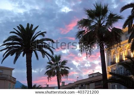 Sunset in Menton, France - stock photo