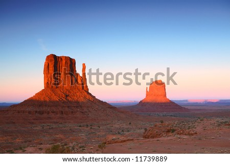 Sunset in Monument Valley, Navajo Nation, Arizona USA - stock photo