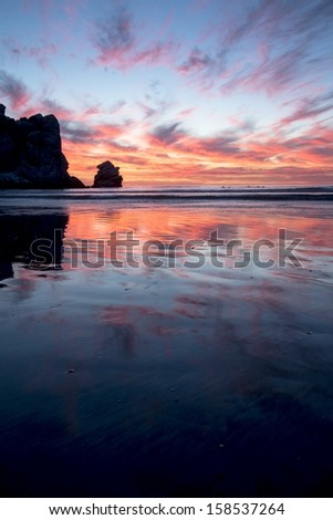 Sunset in Morro Bay on an October evening. - stock photo