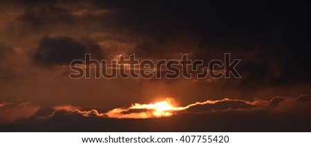 Sunset in mountains in spring time