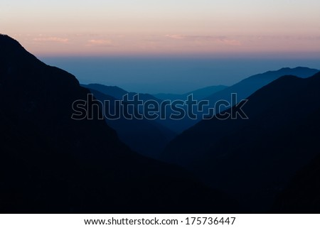 Sunset in mountains, view from Namche outside the Sagarmatha park