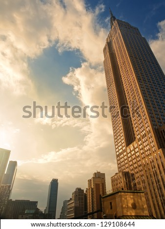 Sunset in New York, Empire State Building - stock photo