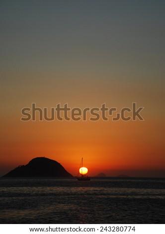 Sunset in Niteroi - stock photo