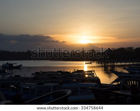 Sunset in north western Bali - stock photo
