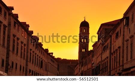 Sunset in Old Town. Dubrovnik, Croatia - stock photo