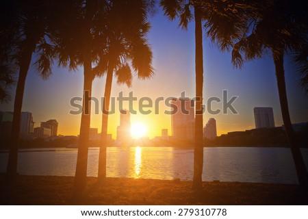 Sunset in Orlando - stock photo