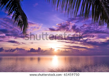 Sunset in paradise - stock photo