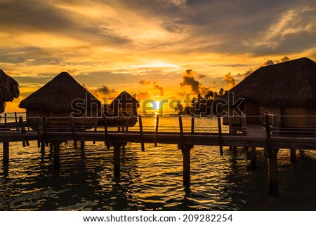 Sunset in Paradise. Evening shot in French Polynesia - stock photo