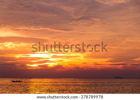Sunset in Paradise Idyllic View  - stock photo