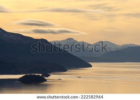 Sunset in Patagonia - stock photo