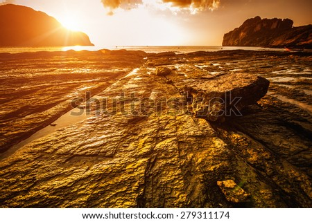 Sunset in Phi Phi Island in Thailand - stock photo