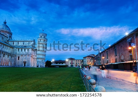 Sunset in Piazza del Duomo and leaning tower, Pisa - stock photo