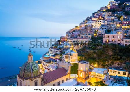 Sunset in Positano, Amalfi Coast, Salerno - Naples, Italy - stock photo