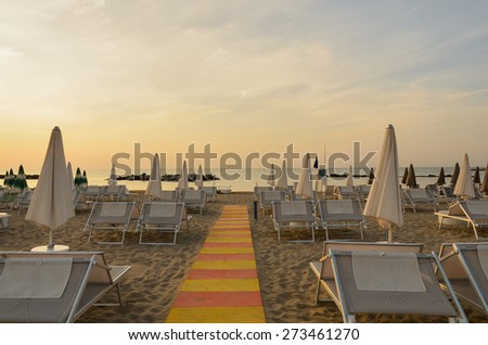 sunset in rimini,italy,in summer - stock photo