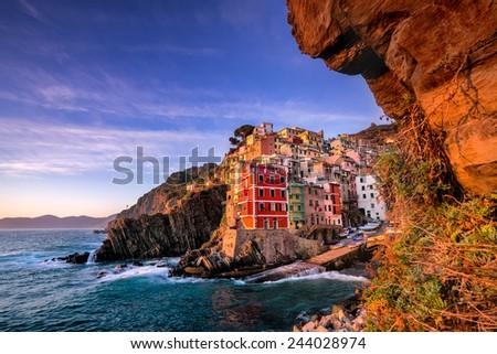 Sunset in Riomaggiore, cinque terre Italy - stock photo