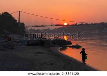 Sunset in Rishikesh, India on the Ganga River - stock photo