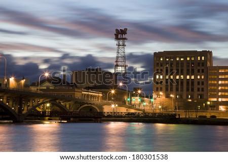 Sunset in Rockford, Illinois, USA. - stock photo