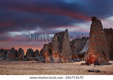 Sunset in Sahara Desert, Tassili N'Ajjer, Tin Tazarift area, Algeria - stock photo