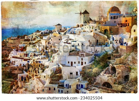 sunset in Santorini - artwork in painting style - stock photo
