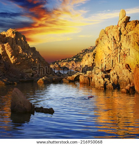 Sunset in Sardinia, Costa Paradiso - stock photo