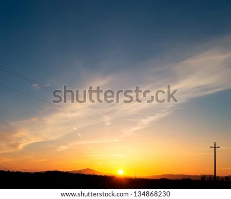 sunset in Sardinia countryside, Italy - stock photo