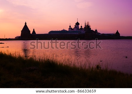 Sunset in Solovetsky monastery on White sea, Russia