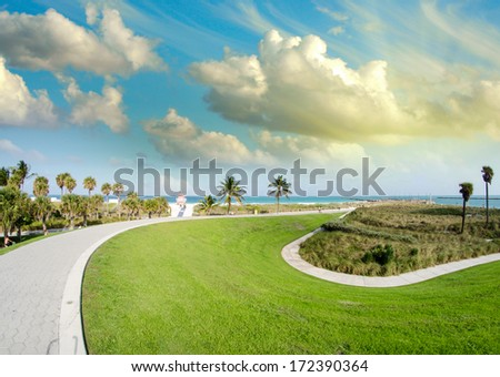 Sunset in South Pointe Park - Miami Beach. - stock photo
