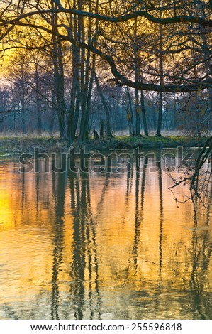 Sunset in spring. River Sukhodrev, Kaluga region of Russia - stock photo