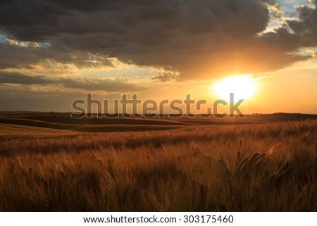 Sunset In Teton Valley - stock photo