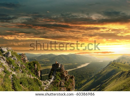 Sunset in the Altai Mountains - stock photo