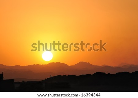 sunset in the Arabian Desert