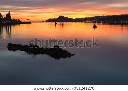 Sunset in the bay - stock photo