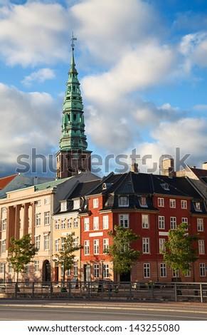 Sunset in the city of Copenhagen, Denmark - stock photo