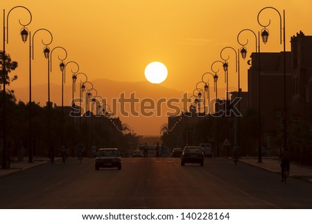 Sunset in the city of Ouarzazate, Morocco. - stock photo